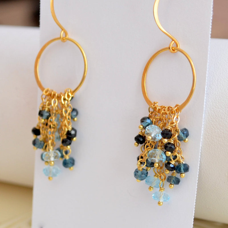 Gemstone Earrings with London Blue Topaz and Black Spinel