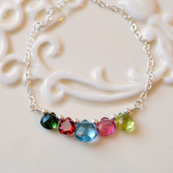 Family Necklace in Sterling Silver with Genuine Gemstones