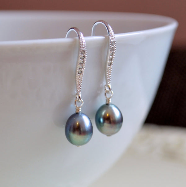 Peacock Pearl Bridal Earrings in Sterling Silver- Twilight