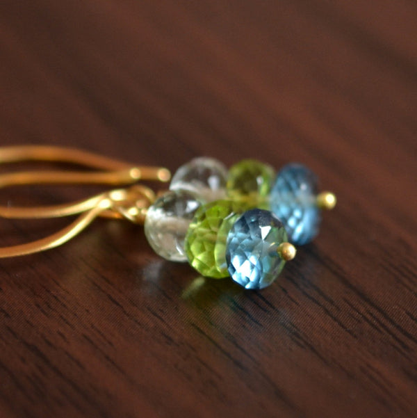Gemstone Earrings with London Blue Topaz, Lime Peridot, and Green Amethyst