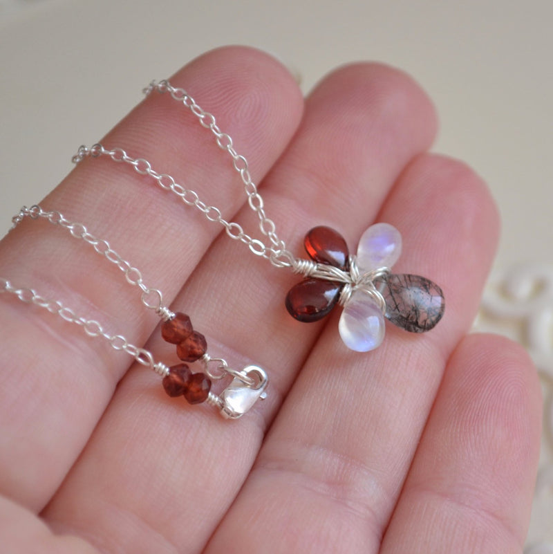 Gemstone Necklace with Garnet Moonstone and Black Tourmalinated Quartz