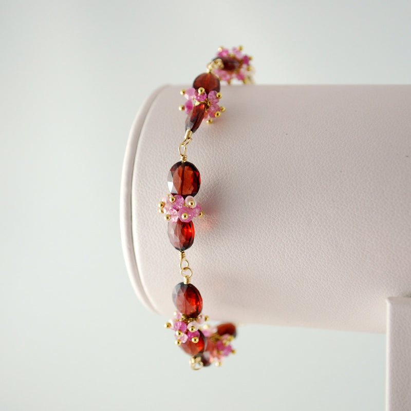 Pink and Red Garnet Bracelet for Valentines Day - In Love