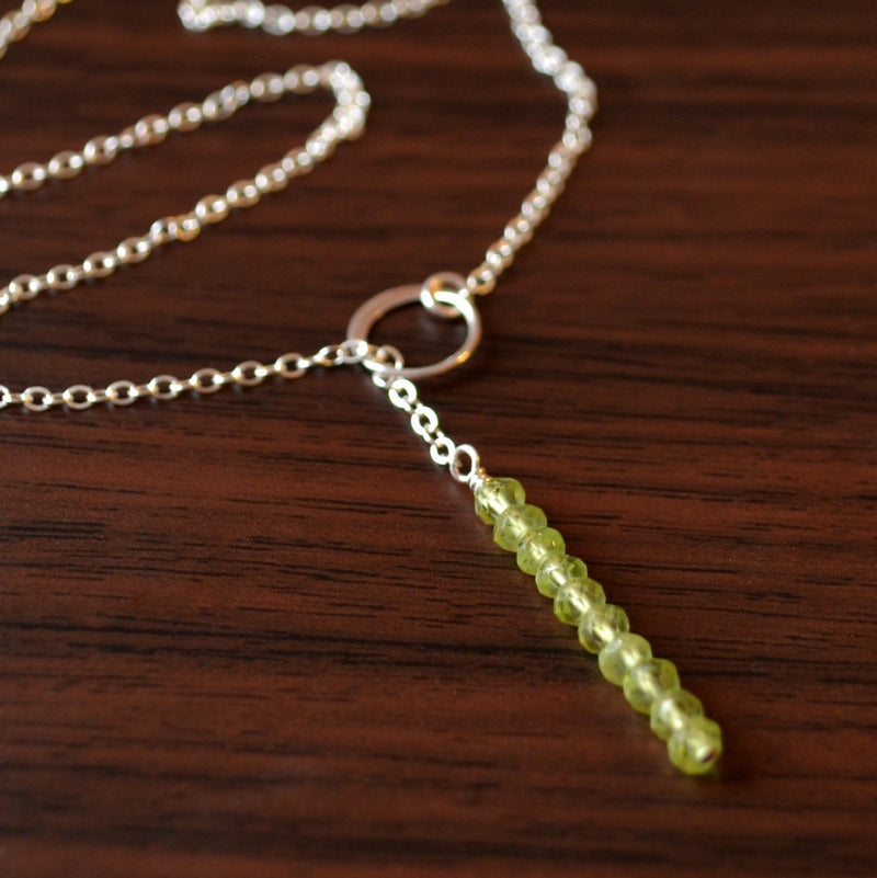 Simple Silver Lariat Necklace, Peridot Necklace
