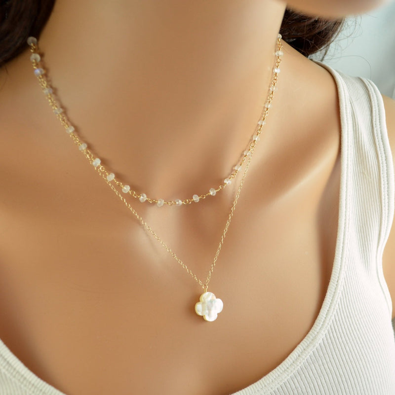 Moonstone Layered Necklace Set