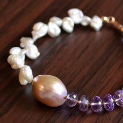 Real Amethyst Bracelet with Keishi Pearl