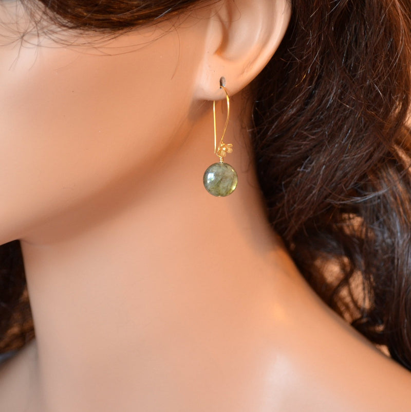 Labradorite Earrings and Smooth Coin Gemstone