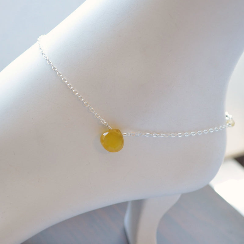 Sterling Silver Anklet with Yellow Gemstone