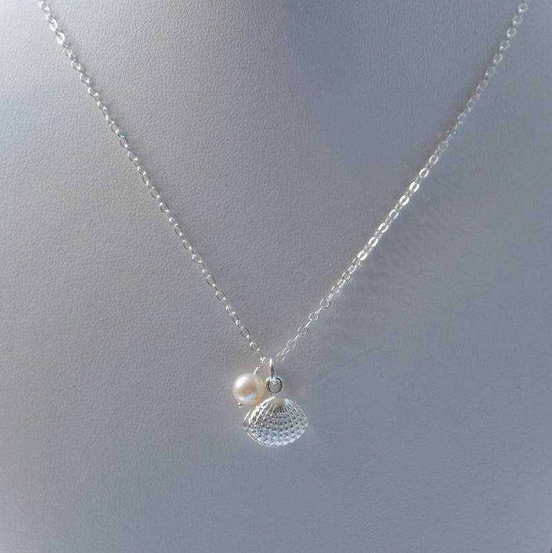 Silver Seashell Necklace for Beach Weddings