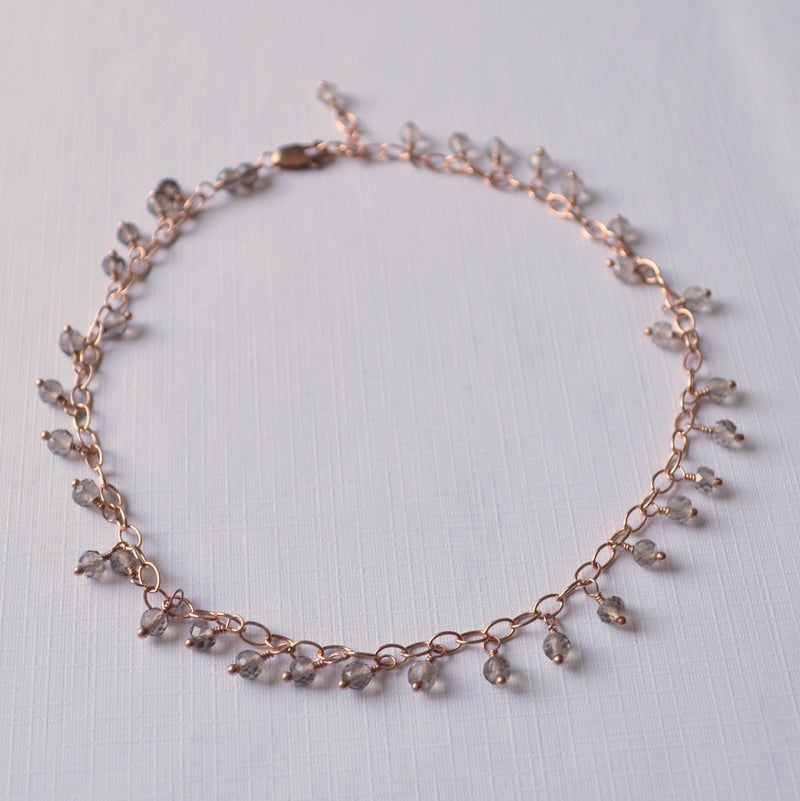 Rose Gold Anklet and Smoky Quartz