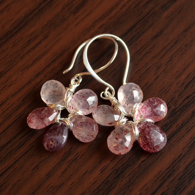 Pink Rutilated Quartz Earrings