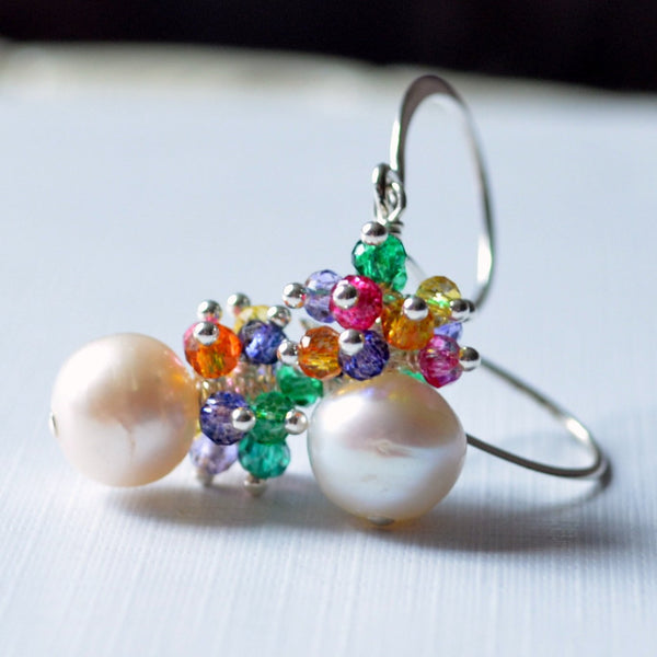 Real Pearl Earrings with Bright Gemstone Clusters - Sprinkles