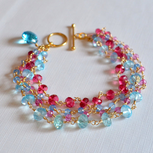 Multi Strand Bracelet in Hot Pink and Blue - Tropical Punch