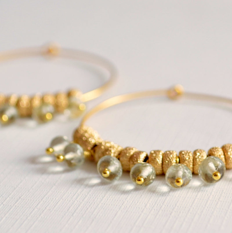 Gold Hoop Earrings with Green Amethyst Gemstones