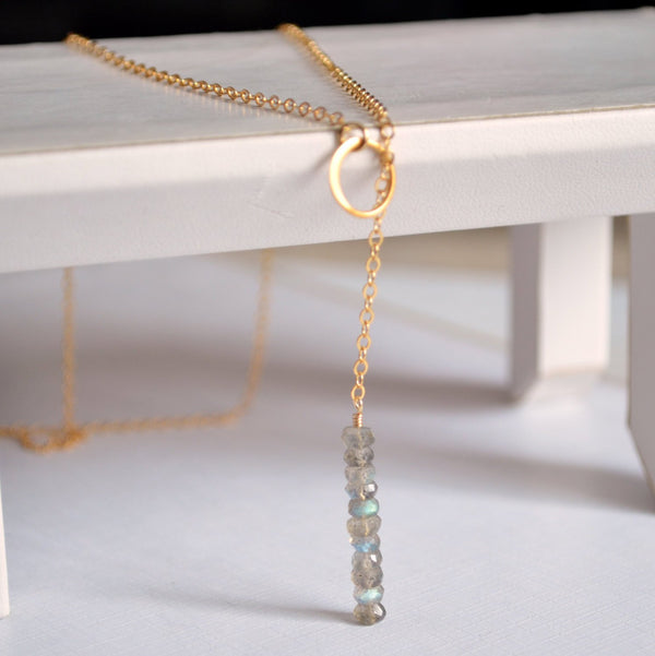 Labradorite Lariat Necklace and Real Gemstone