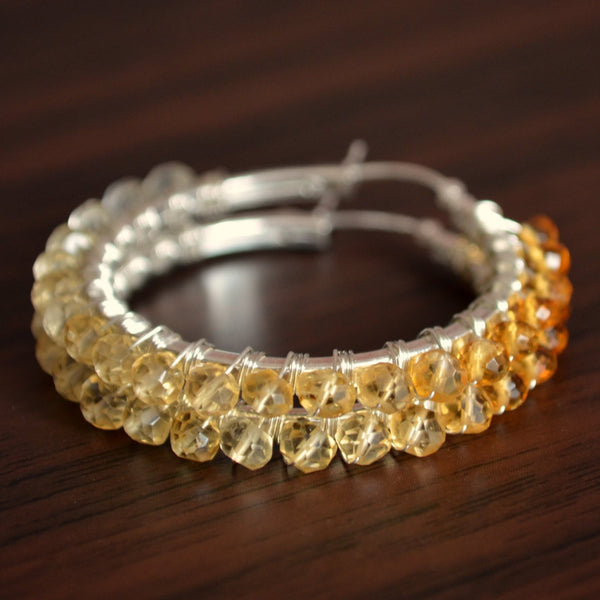 Citrine Hoop Earrings with Real Shaded Gemstones