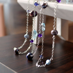 Long Silver Necklace with Blue Topaz Amethyst and Peacock Pearls - Silver Peacock