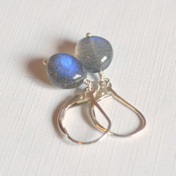 Simple Labradorite Earrings, Smooth Nugget Beads