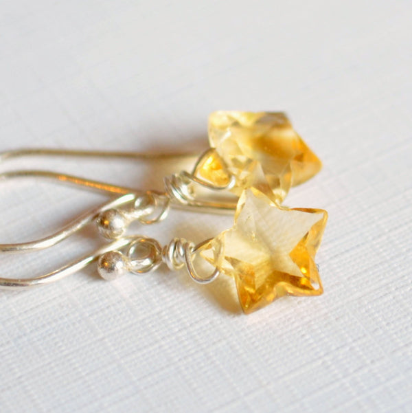 Real Citrine Earrings in Stars