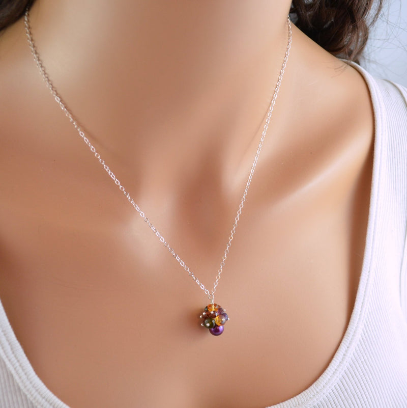 Sterling Silver Necklace with Citrine Amethyst