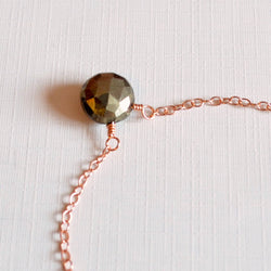 Pyrite Necklace, Rose Gold Choker