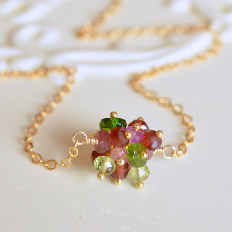 Christmas Necklace with Real Garnet Ruby and Peridot Cluster