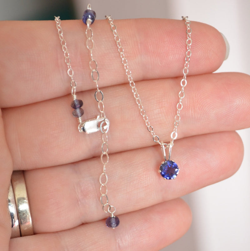 Classic Iolite Pendant Necklace for Girls