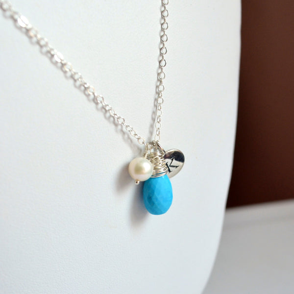 Real Turquoise Necklace with Initial Charm