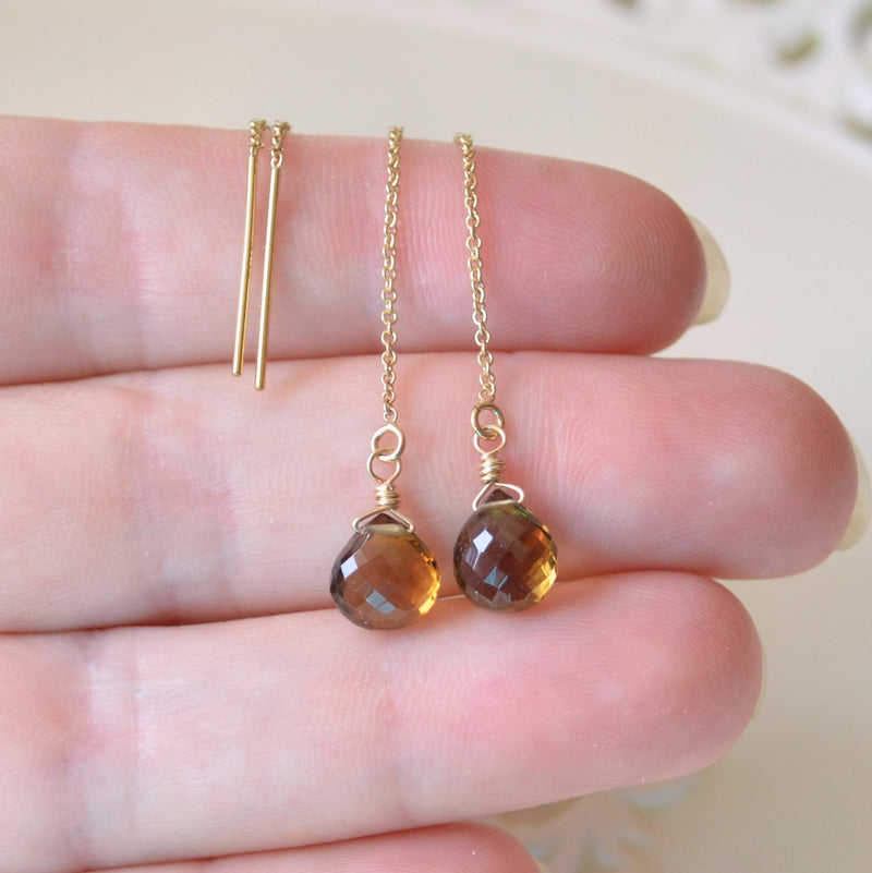 Beer Quartz Earrings with Gemstone Earrings