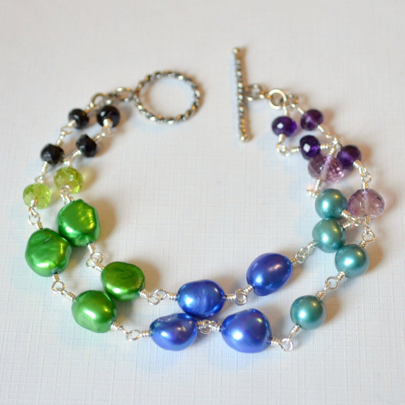 Pearl Bracelet, Amethyst, Black Tourmaline, and Peridot Gemstones
