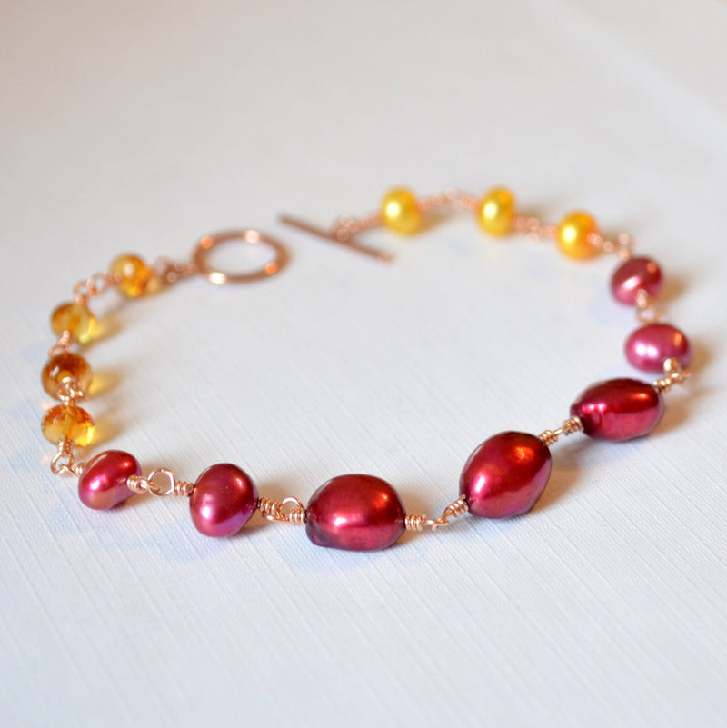 Pearl and Citrine Bracelet