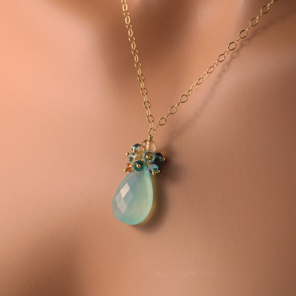 Beach Wedding Necklace with Aqua Gemstones - Beach Walk