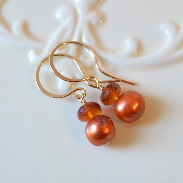 Hessonite Garnet Earrings in Burnt Orange