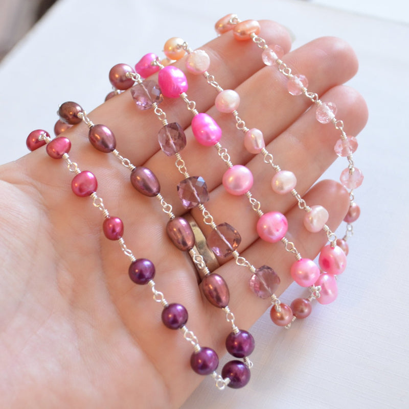 Long Pink Peach and Plum Necklace with Pearls and Gemstones - Summer Fruit