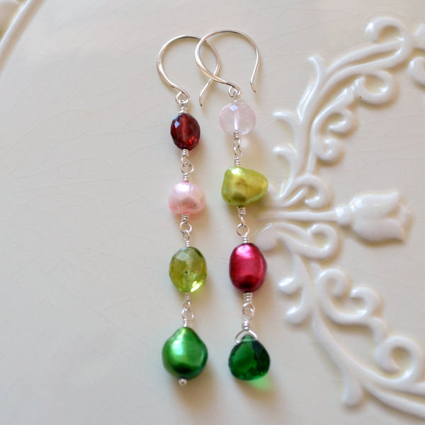 Christmas Earrings with Peridot Garnet Rose Quartz Pearl