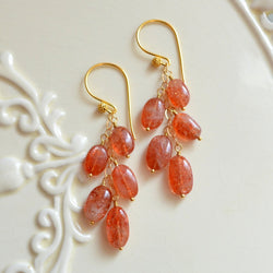 Long Sunstone Earrings with Burnt Orange Gemstones