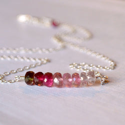 Watermelon Tourmaline Necklace, Row Bar Necklace