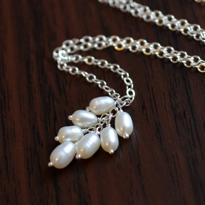 White Pearl Necklace, Real Freshwater Pearl Cluster