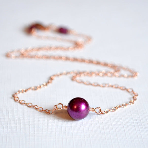 Rose Gold Choker Necklace with Real Freshwater Pearl in Mulberry Wine Burgundy
