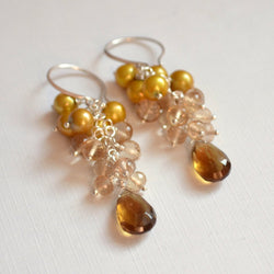 Gold Cluster Earrings and Real Freshwater Pearls