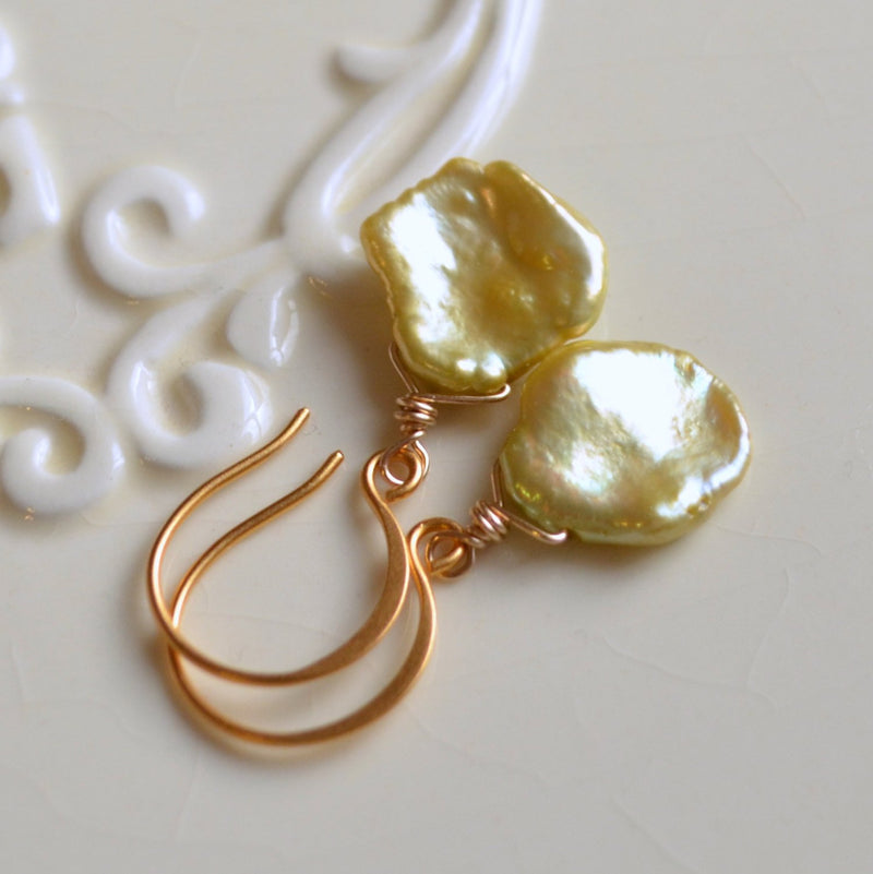Apple Green Pearl Earrings with Real Keishi Keshi Pearls