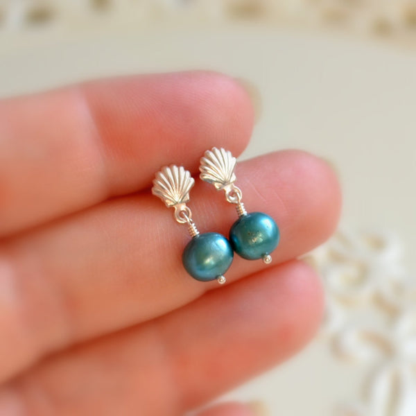 Teal Pearl Dangle Earrings with Seashell Posts