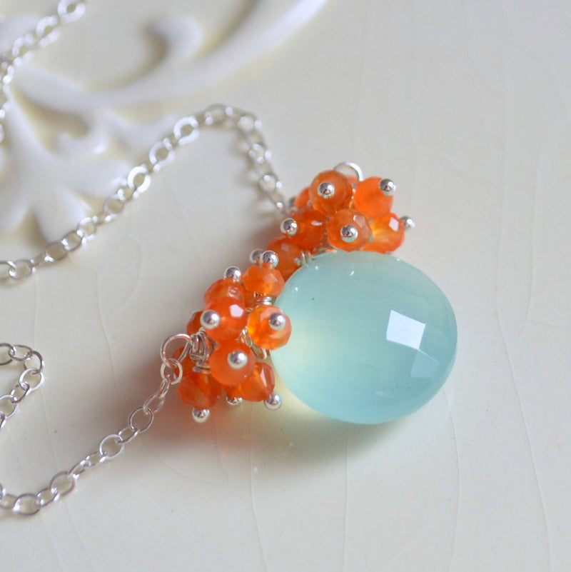 Gemstone Necklace with Aqua Chalcedony