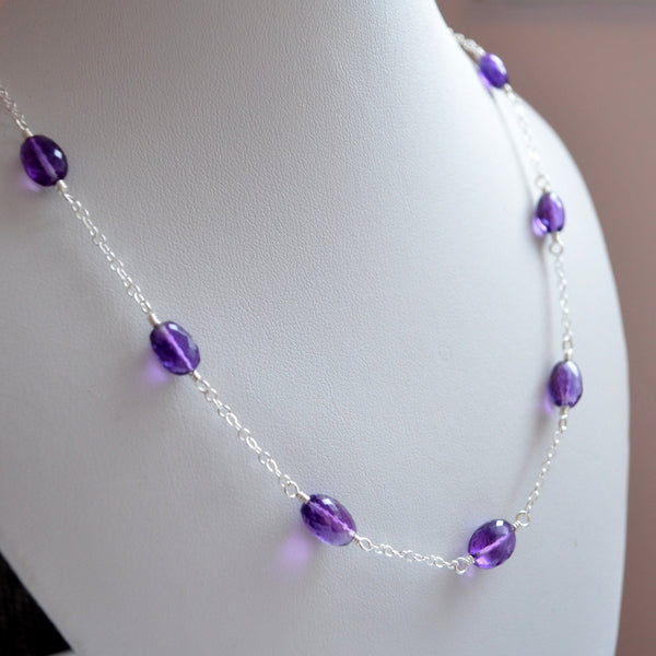 Luxe Amethyst Necklace in Sterling Silver