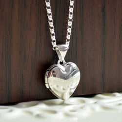 Sterling Silver Heart Locket Necklace for Girls