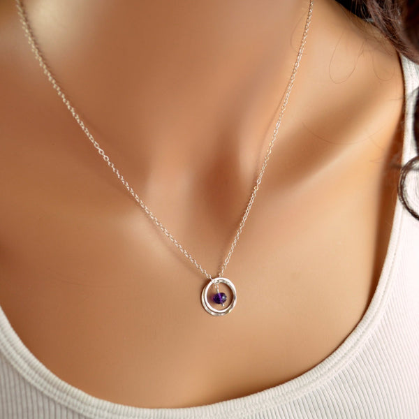 Twins Necklace, Sterling Silver, Birthstone Jewelry for Women, Real Amethyst Gemstone, February Birthday, Connecting Rings