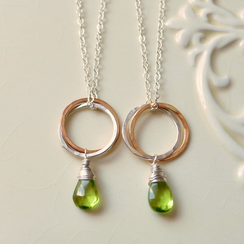 Twins Necklace in Sterling Silver with Circle Pendant