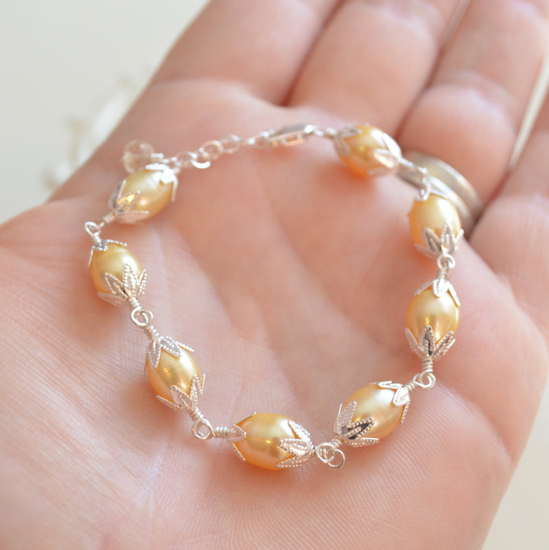 Easter Bracelet for Girls with Yellow Freshwater Pearls