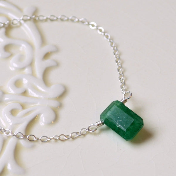 Emerald Cut Green Quartz Necklace for Girls