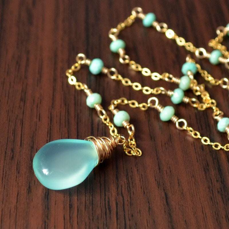 Chrysoprase Necklace with Aqua Chalcedony Pendant