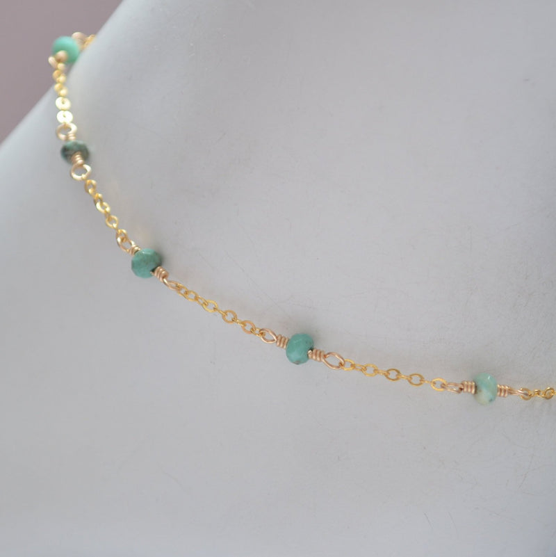 Gold Anklet, Mint Green Chrysoprase Gemstones